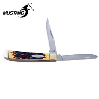 Delrin Stag Trapper 2 Blade Folding Knife