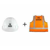 Fire Warden Hard Hat & Vest Combo Pack