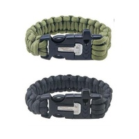 Paracord Bracelet with Flint Fire Starter and Whistle