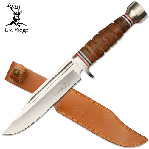 Elk Ridge Stacked Leather Bowie Knife