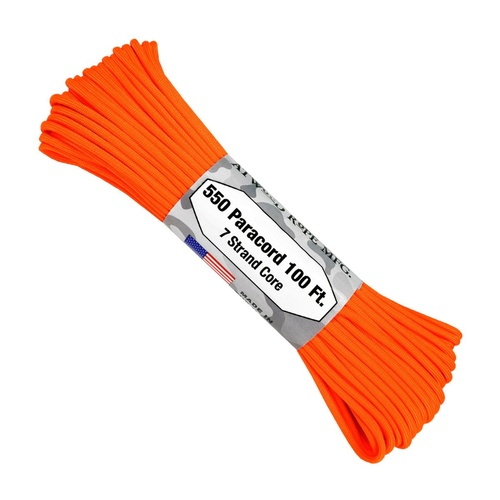 Paracord Neon Orange 550 7 strand (100ft) MADE IN USA